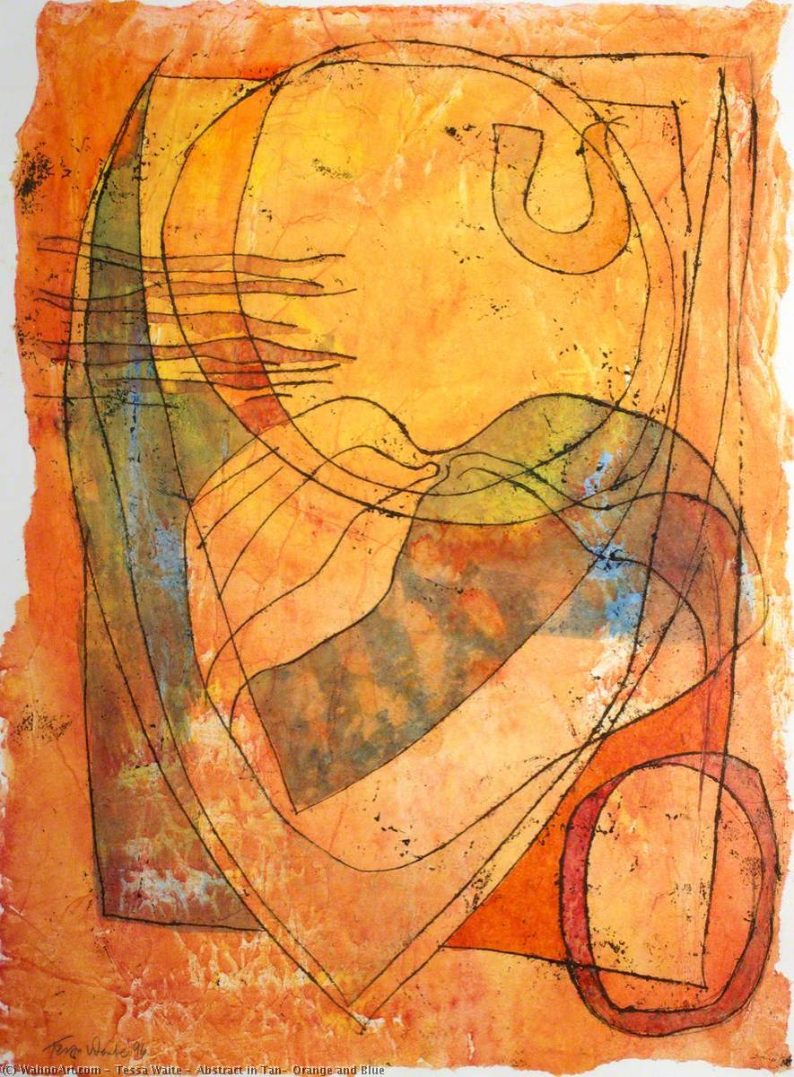 Abstract in Tan, Orange and Blue, 1996 by Tessa Waite | Famous Paintings Reproductions | WahooArt.com