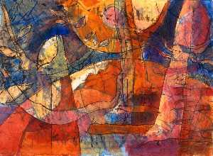 Tessa Waite - Abstract in Blue, Tan, Pink and Red