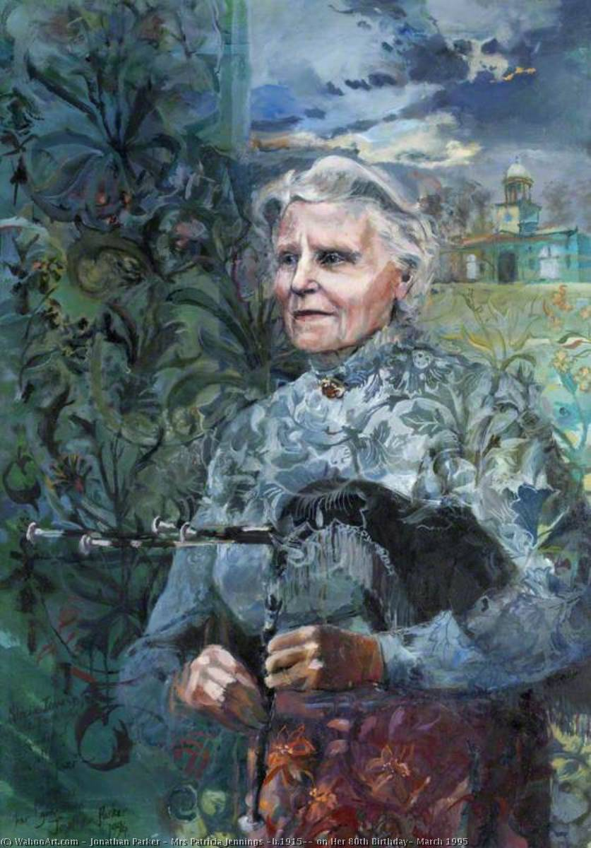 Mrs Patricia Jennings (b.1915), on Her 80th Birthday, March 1995, 1995 by Jonathan Parker | Oil Painting | WahooArt.com