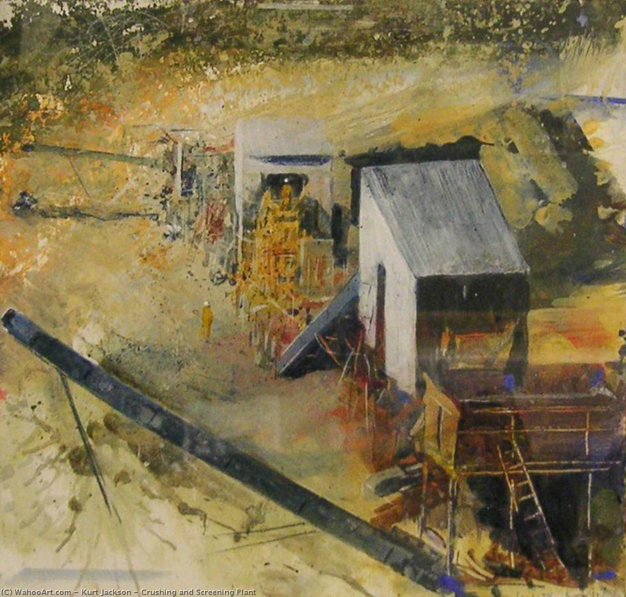 Crushing and Screening Plant, 1998 by Kurt Jackson | Oil Painting | WahooArt.com