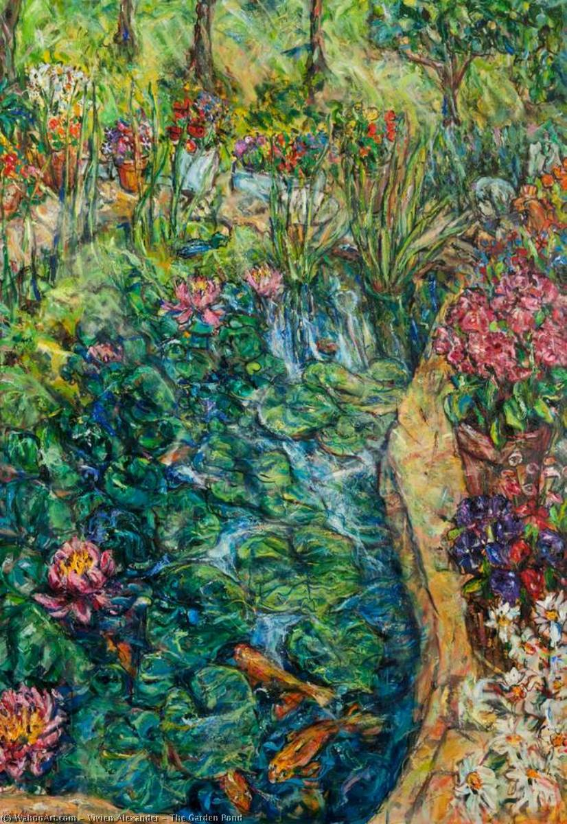 The Garden Pond, Oil On Canvas by Vivien Alexander