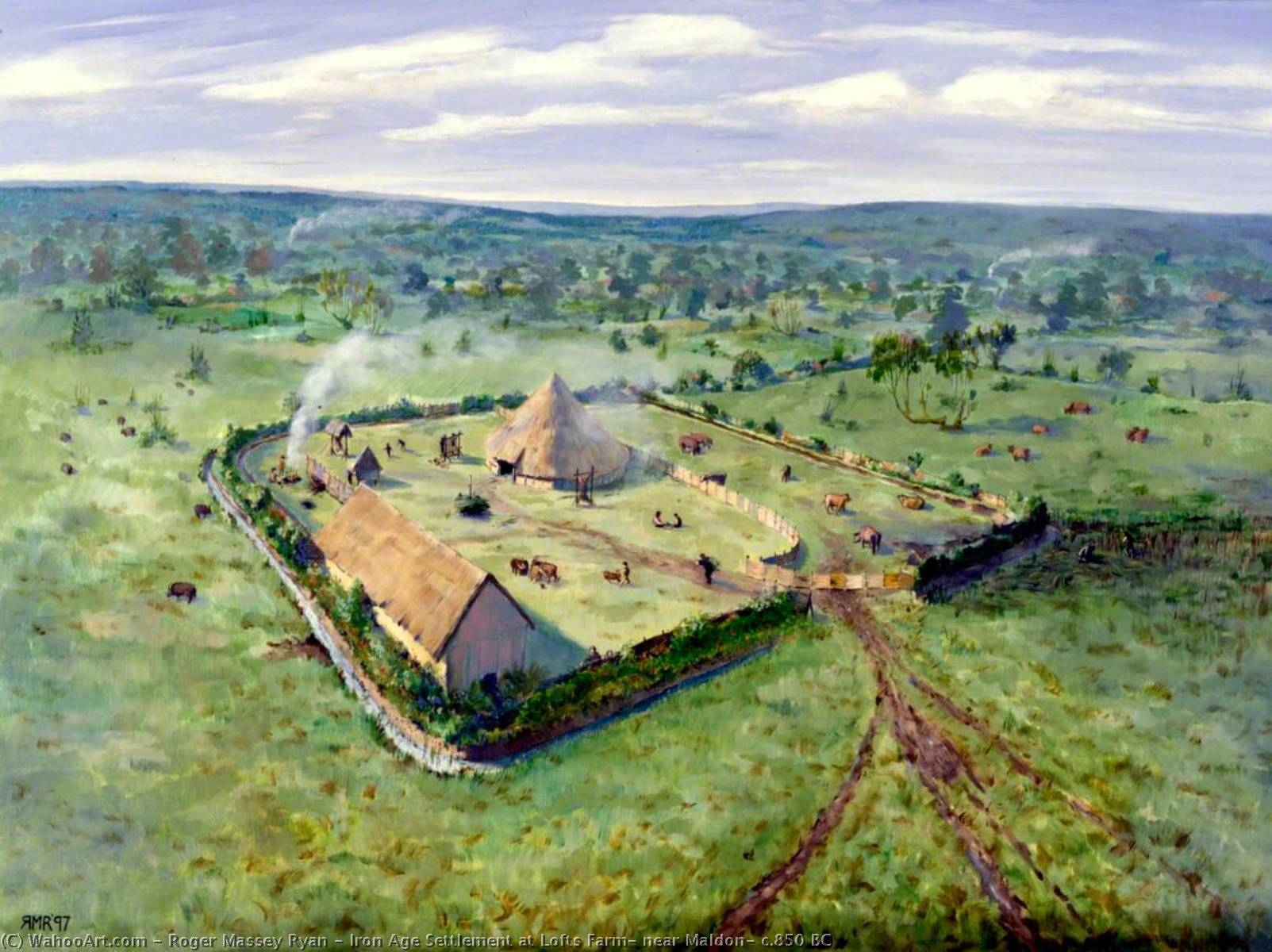 Iron Age Settlement at Lofts Farm, near Maldon, c.850 BC, 1997 by Roger Massey Ryan | Art Reproduction | WahooArt.com