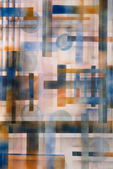 Buy Museum Art Reproductions | Orange and Blue Abstract, 2006 by Hardeep Mudhar | WahooArt.com