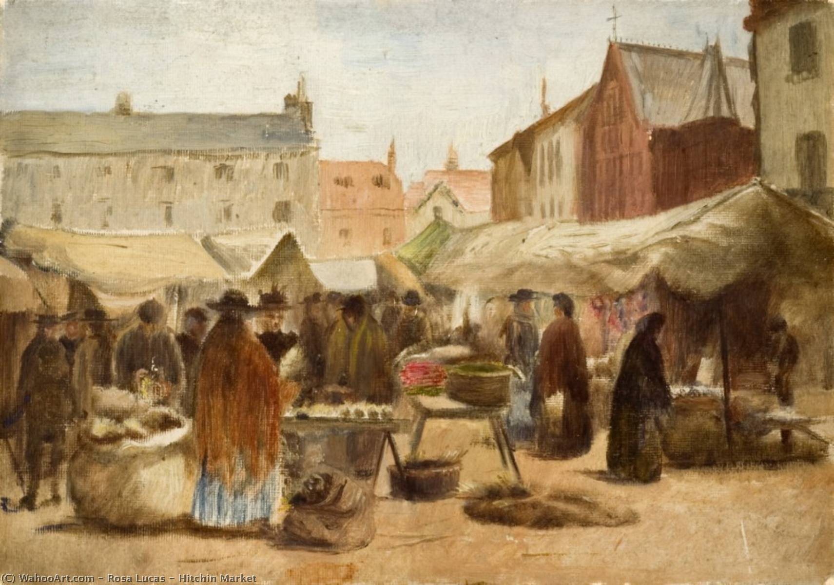 Hitchin Market by Rosa Lucas | Famous Paintings Reproductions | WahooArt.com