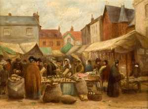 Rosa Lucas - Straw Plaiting in the Market Place, Hitchin
