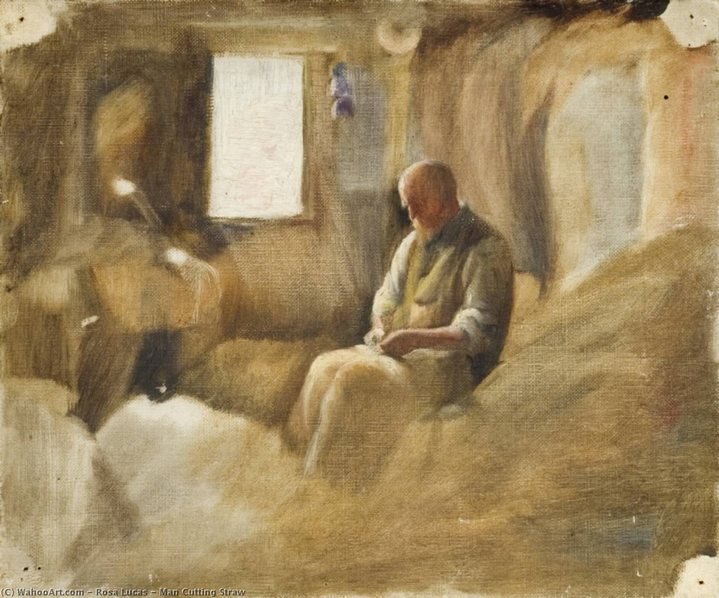 Man Cutting Straw, Oil On Canvas by Rosa Lucas