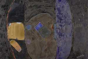Larry Wakefield - Untitled (Black with Brown, Blue and Purple)