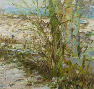 Diana M Armfield - Snow at Christmas, Llwynhir