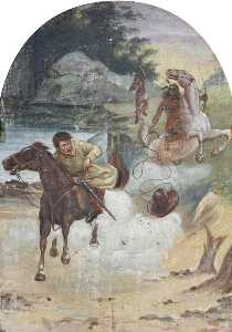 Henry Whiting - Hatwell's 'Gallopers' Cowboy Chased by Indians (bottom centre panel)