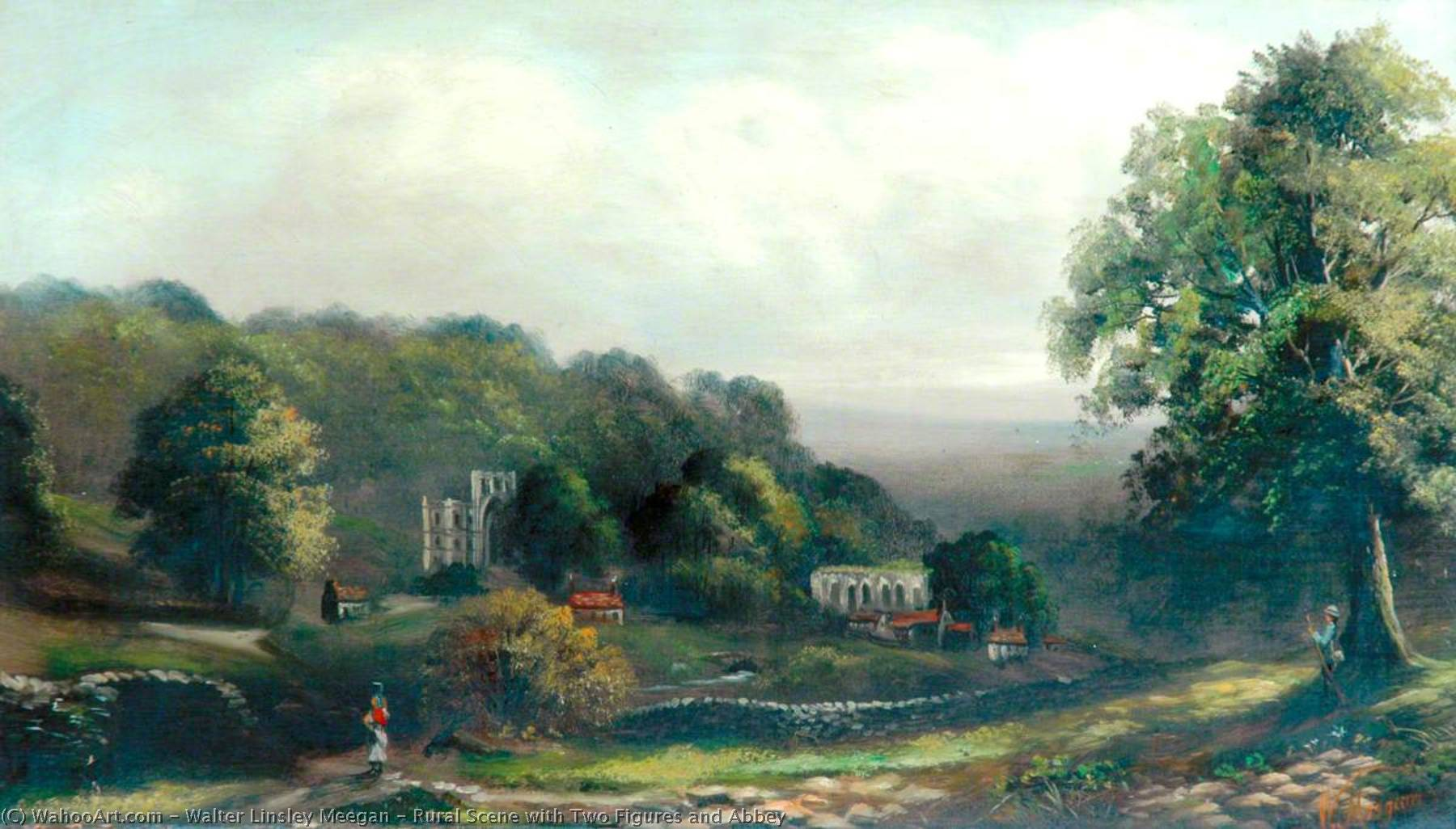 Rural Scene with Two Figures and Abbey by Walter Linsley Meegan | Art Reproduction | WahooArt.com
