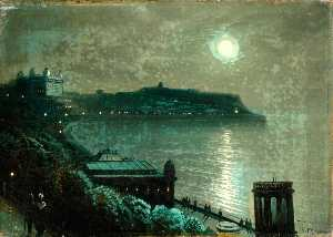 Walter Linsley Meegan - The South Bay at Night with Full Moon