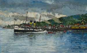 Robin Harvey Wyllie - 'Jupiter', 'Queen Mary' and 'Jeanie Deans' at Rothesay