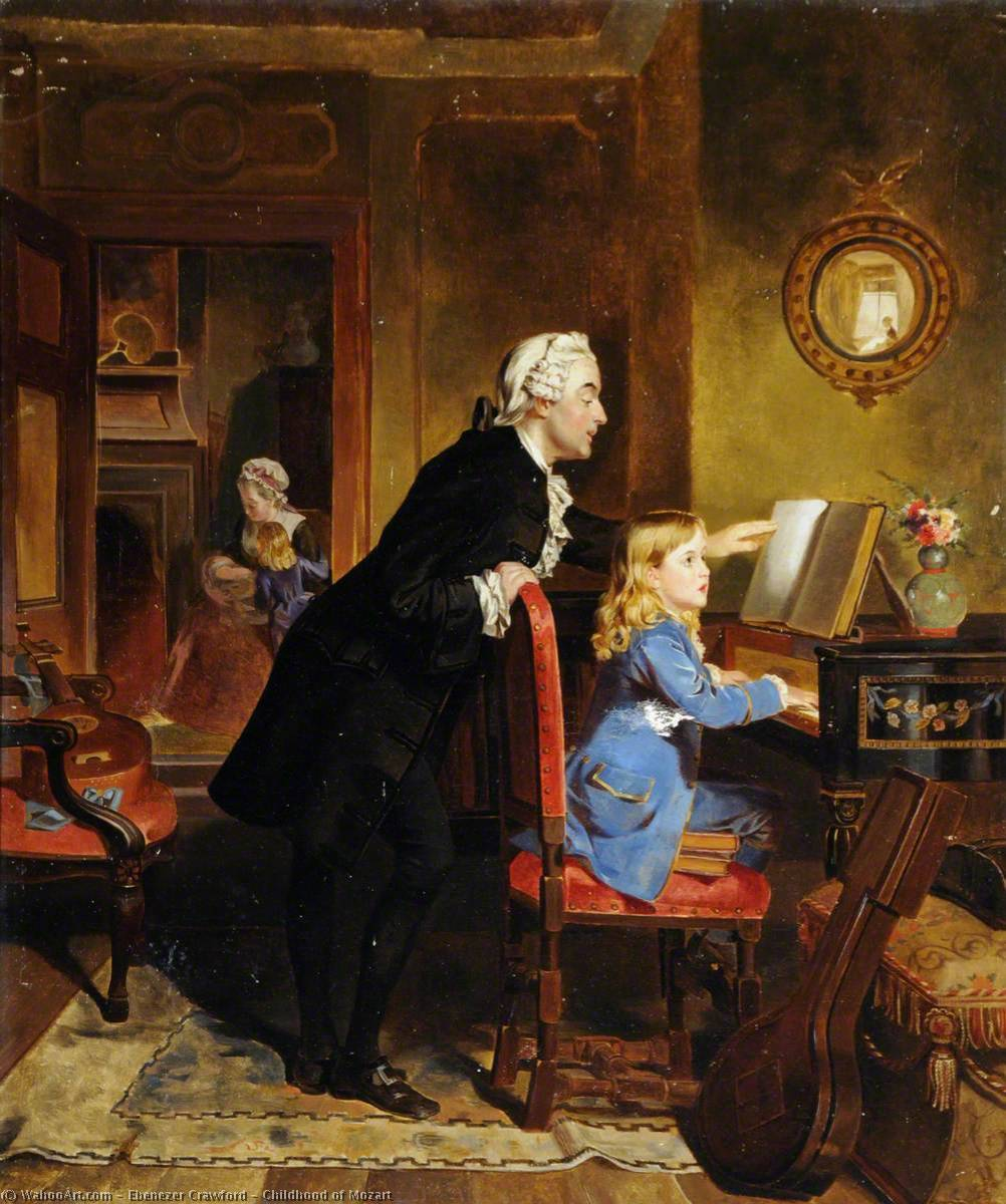 Childhood of Mozart, Oil On Canvas by Ebenezer Crawford