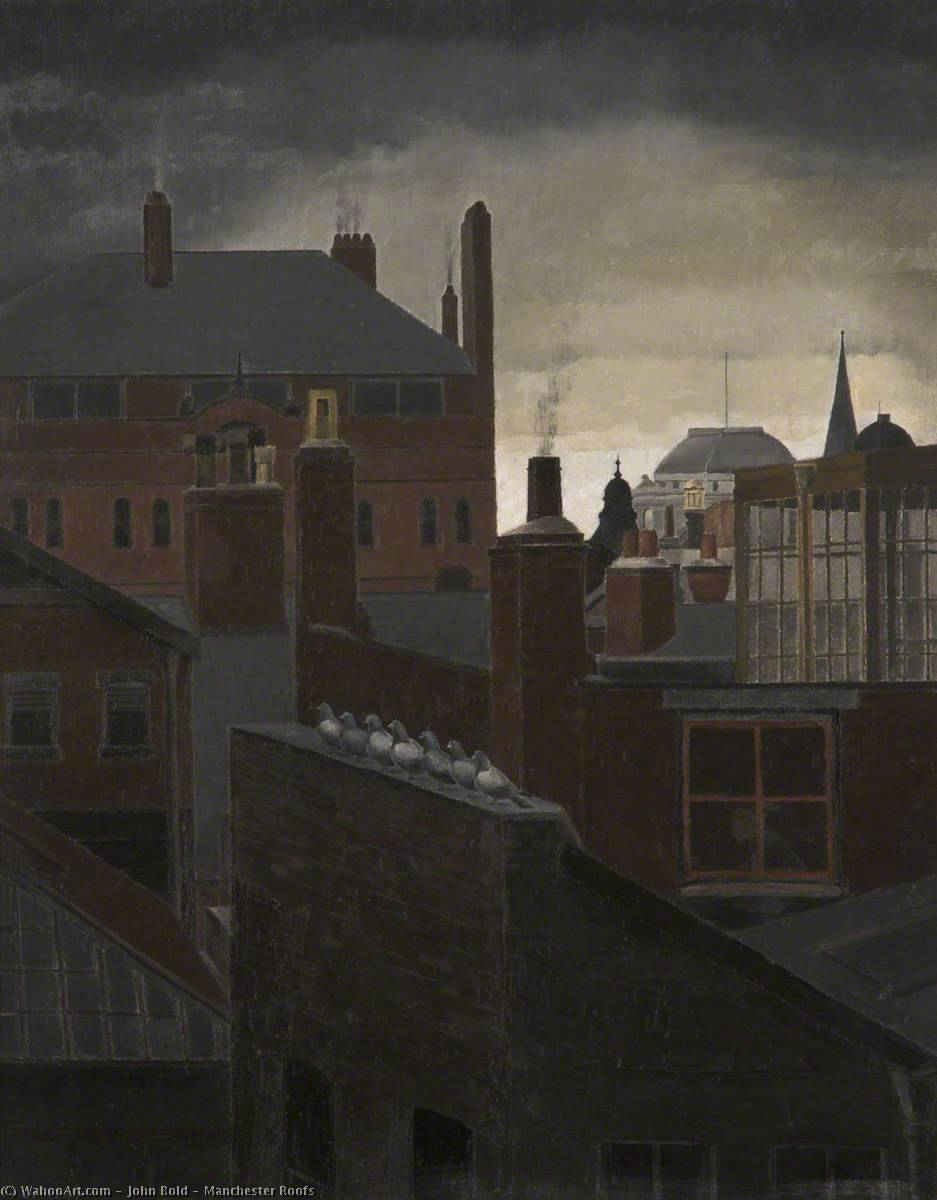 Manchester Roofs, Oil On Canvas by John Bold