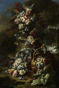 Gasparo Lopez - Flowers in a Landscape with Overturned Urn
