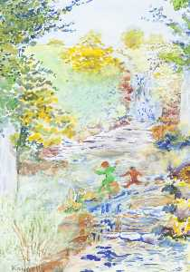 Minehead Resource Centre Painting Group - Playing by a Waterfall