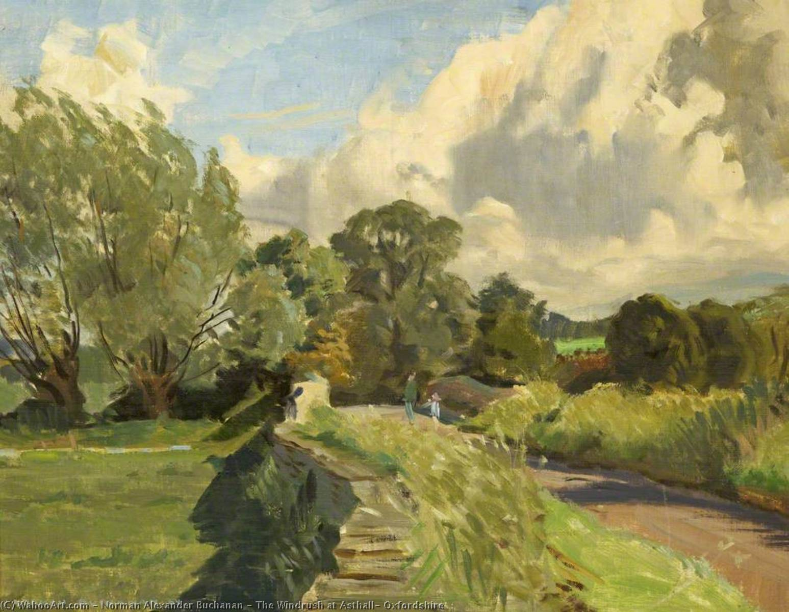 The Windrush at Asthall, Oxfordshire by Norman Alexander Buchanan | Painting Copy | WahooArt.com