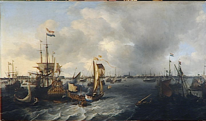 LE PORT D`AMSTERDAM by Ludolf Backhuysen (1630-1708, Germany) | Art Reproduction | WahooArt.com