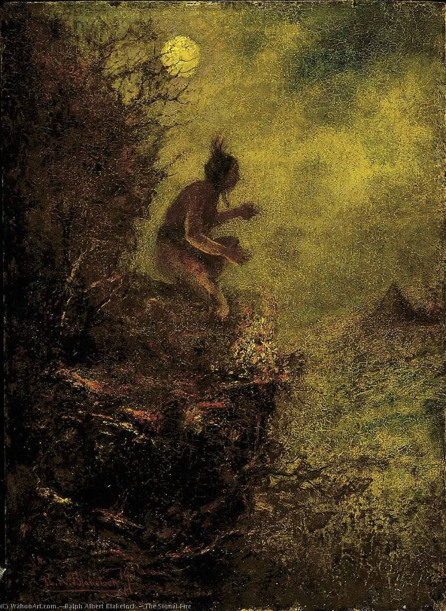Order Reproductions | The Signal Fire, 1890 by Ralph Albert Blakelock (1847-1919, United States) | WahooArt.com