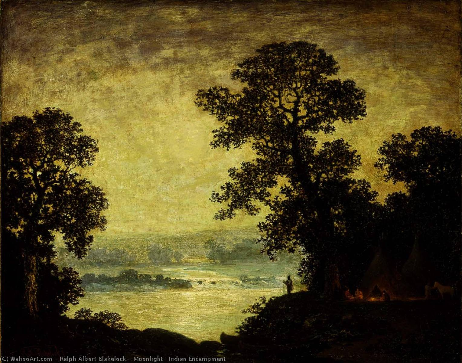 Order Paintings Reproductions | Moonlight, Indian Encampment, 1889 by Ralph Albert Blakelock (1847-1919, United States) | WahooArt.com
