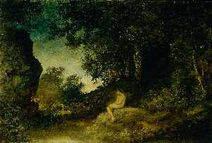 Order Reproductions | At Nature`s Mirror, 1880 by Ralph Albert Blakelock (1847-1919, United States) | WahooArt.com