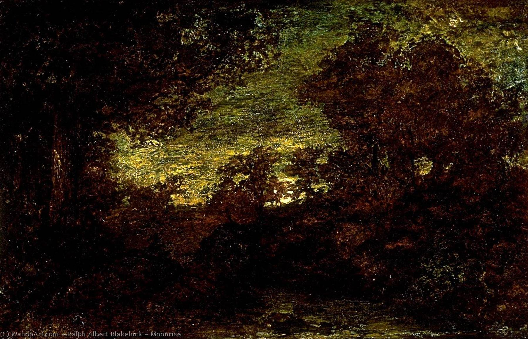 Moonrise by Ralph Albert Blakelock (1847-1919, United States) | Museum Art Reproductions Ralph Albert Blakelock | WahooArt.com