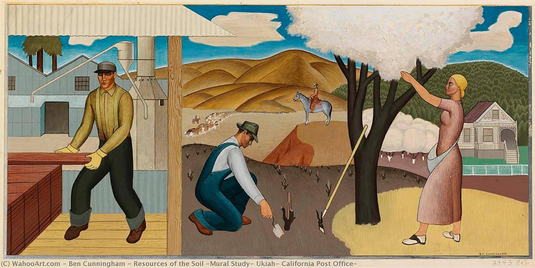 Resources of the Soil (Mural Study, Ukiah, California Post Office), 1938 by Ben Cunningham (1883-1976, United States) | Famous Paintings Reproductions | WahooArt.com