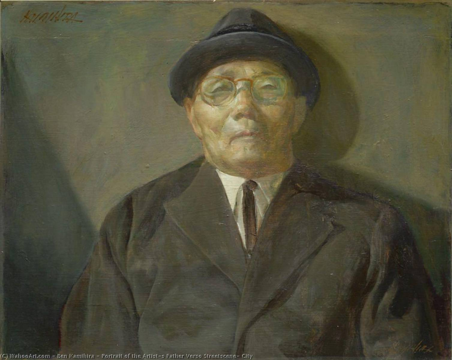 Portrait of the Artist`s Father Verso Streetscene, City, 1961 by Ben Kamihira | Oil Painting | WahooArt.com
