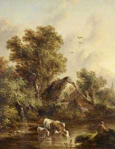 Richard H Hilder - Cows Watering by a Cottage among Trees