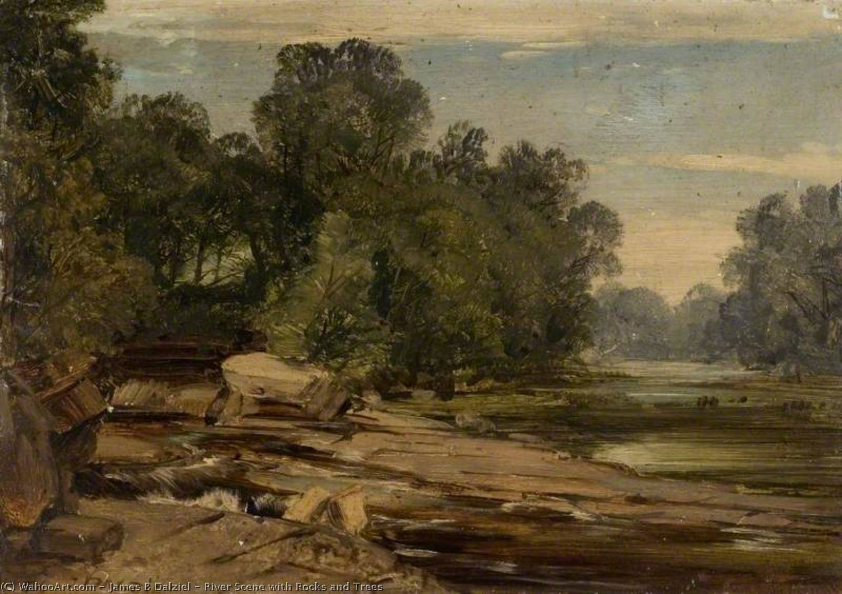 River Scene with Rocks and Trees, Oil by James B Dalziel