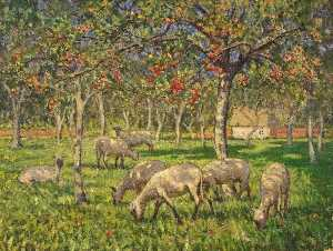 Janet C Fisher - Sheep in an Orchard at Kemerton, Gloucestershire