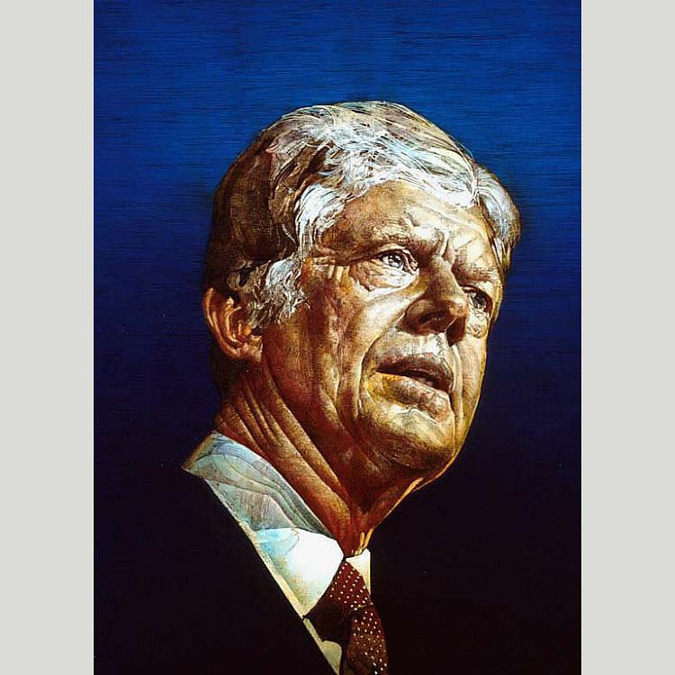 Jimmy Carter, Acrylic by Ross Barron Storey