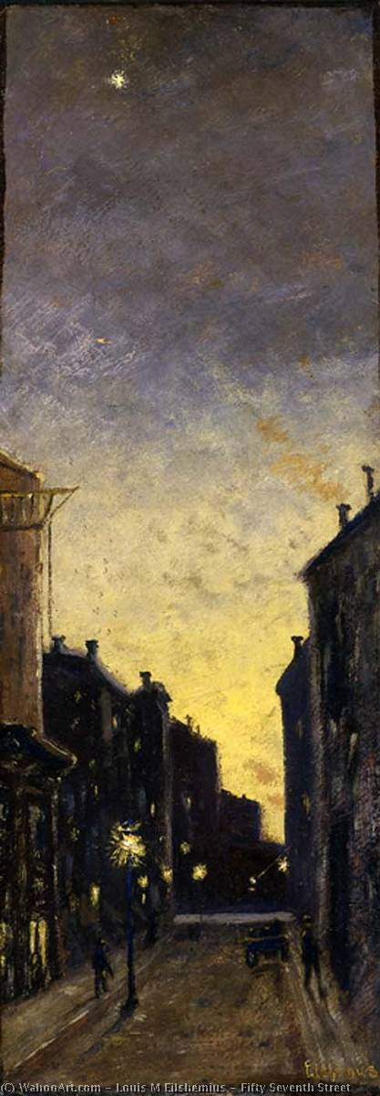 Fifty Seventh Street, Oil by Louis Michel Eilshemius (1864-1941, United States)