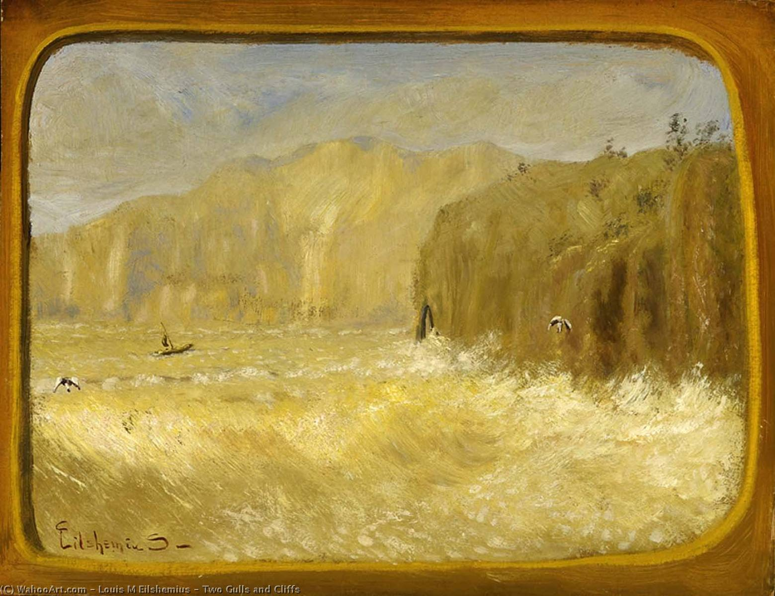 Two Gulls and Cliffs, Oil by Louis Michel Eilshemius (1864-1941, United States)
