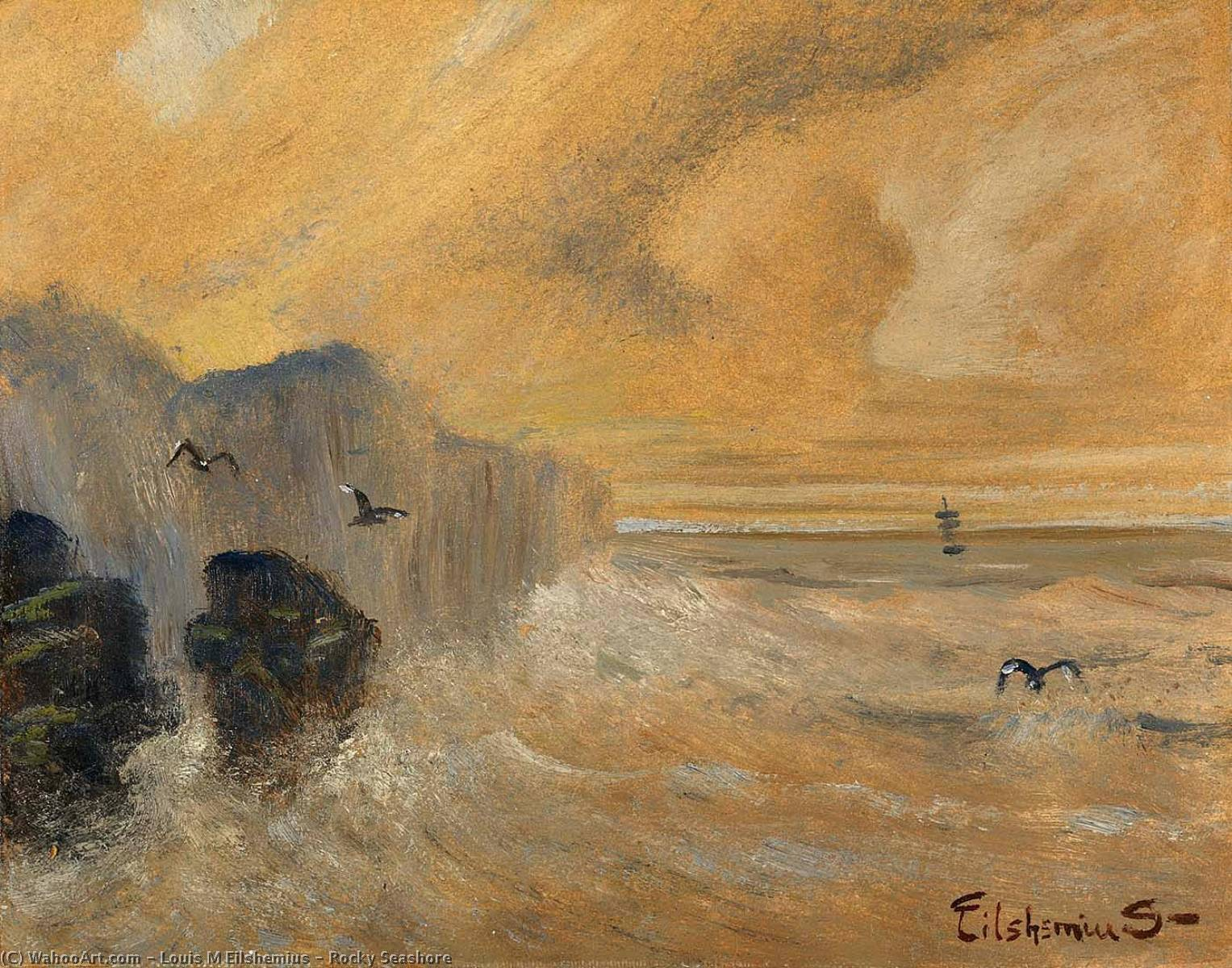 Rocky Seashore by Louis Michel Eilshemius (1864-1941, United States) | Oil Painting | WahooArt.com