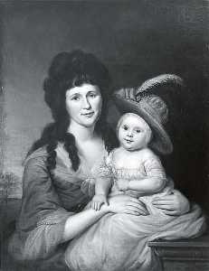 Charles Willson Peale - Mrs. John Nicholson and John Nicholson, Jr., (painting)