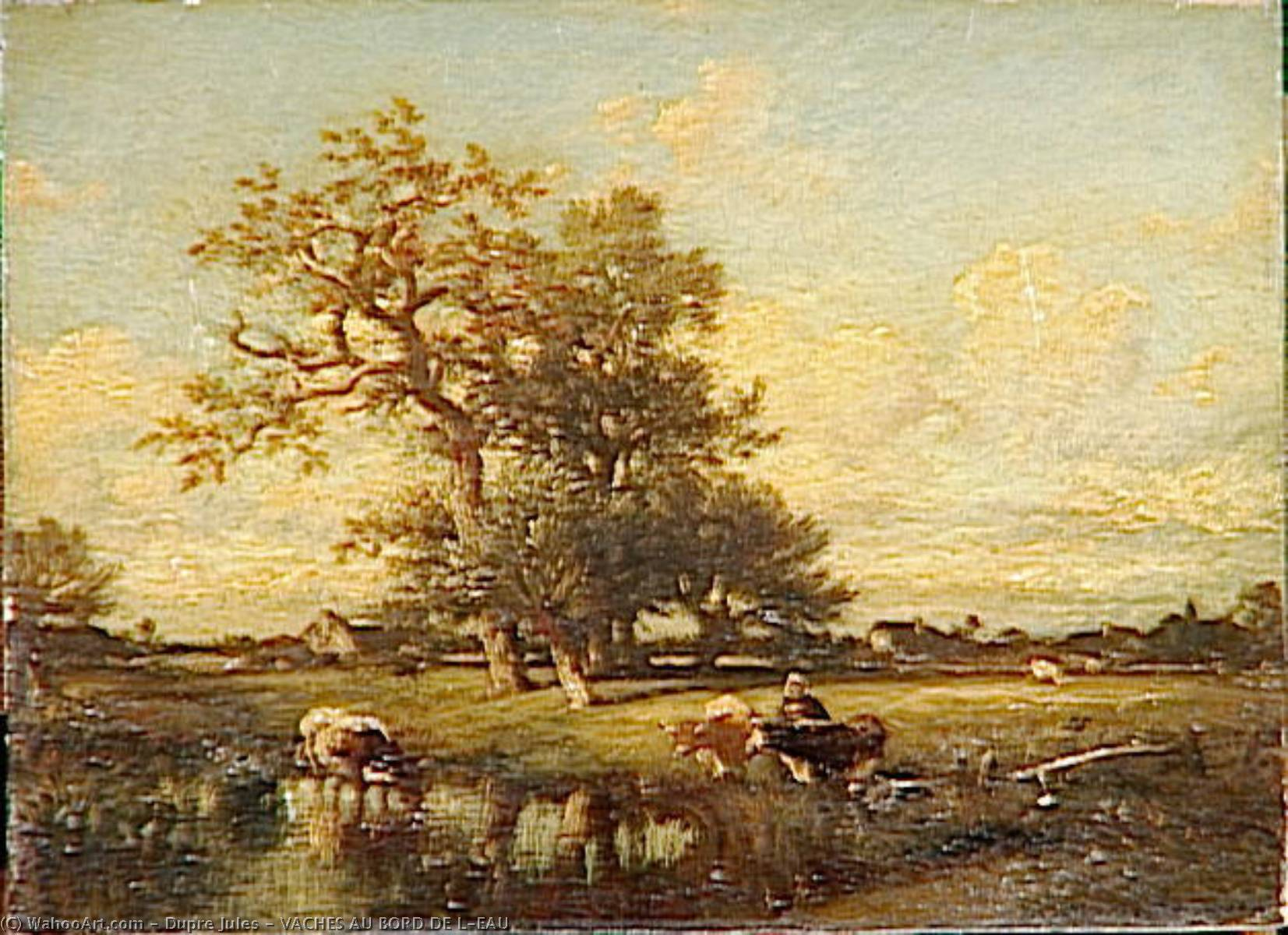 VACHES AU BORD DE L'EAU, Oil by Jules Dupré (1811-1889, France)