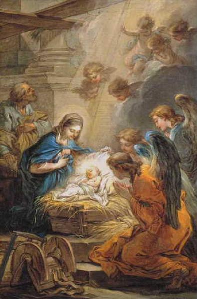 L'Adoration des anges, Oil by Charles-André Van Loo (Carle Van Loo) (1705-1765, France)
