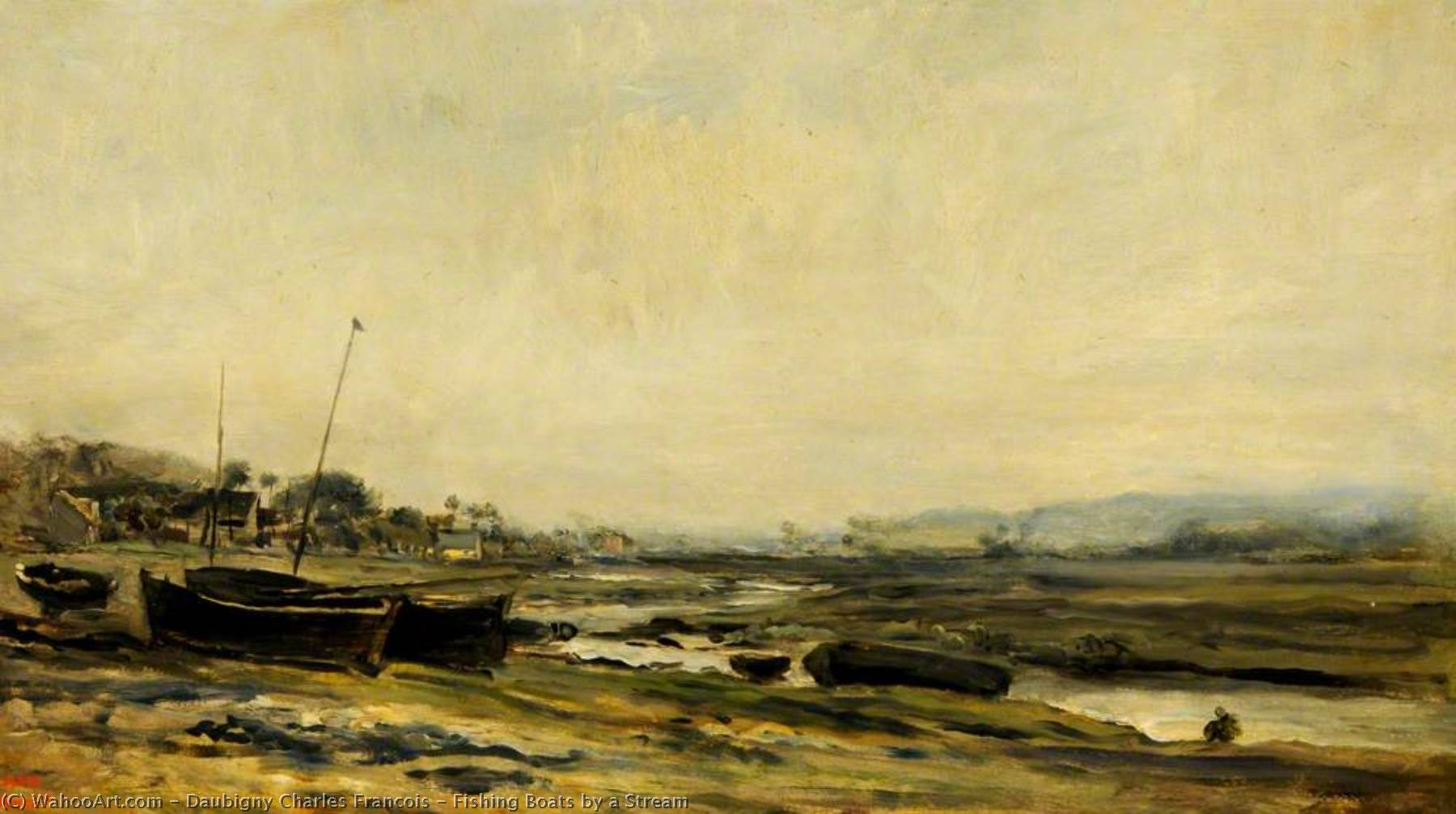 Fishing Boats by a Stream, Oil On Panel by Charles François Daubigny (1817-1878, France)