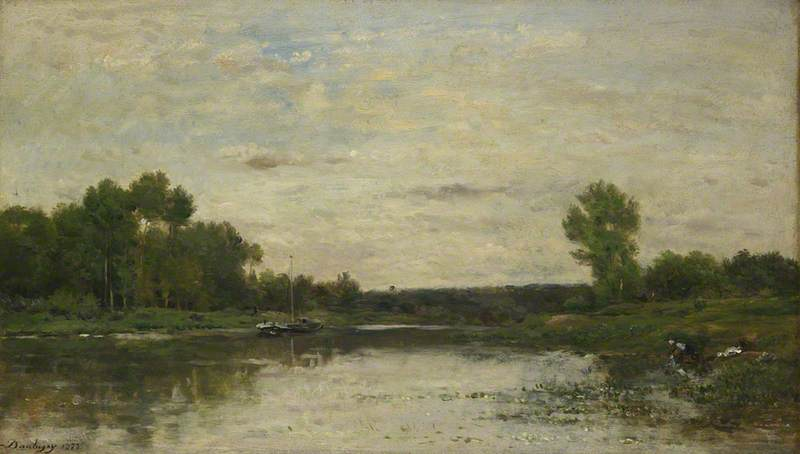 View on the Oise, Oil by Charles François Daubigny (1817-1878, France)
