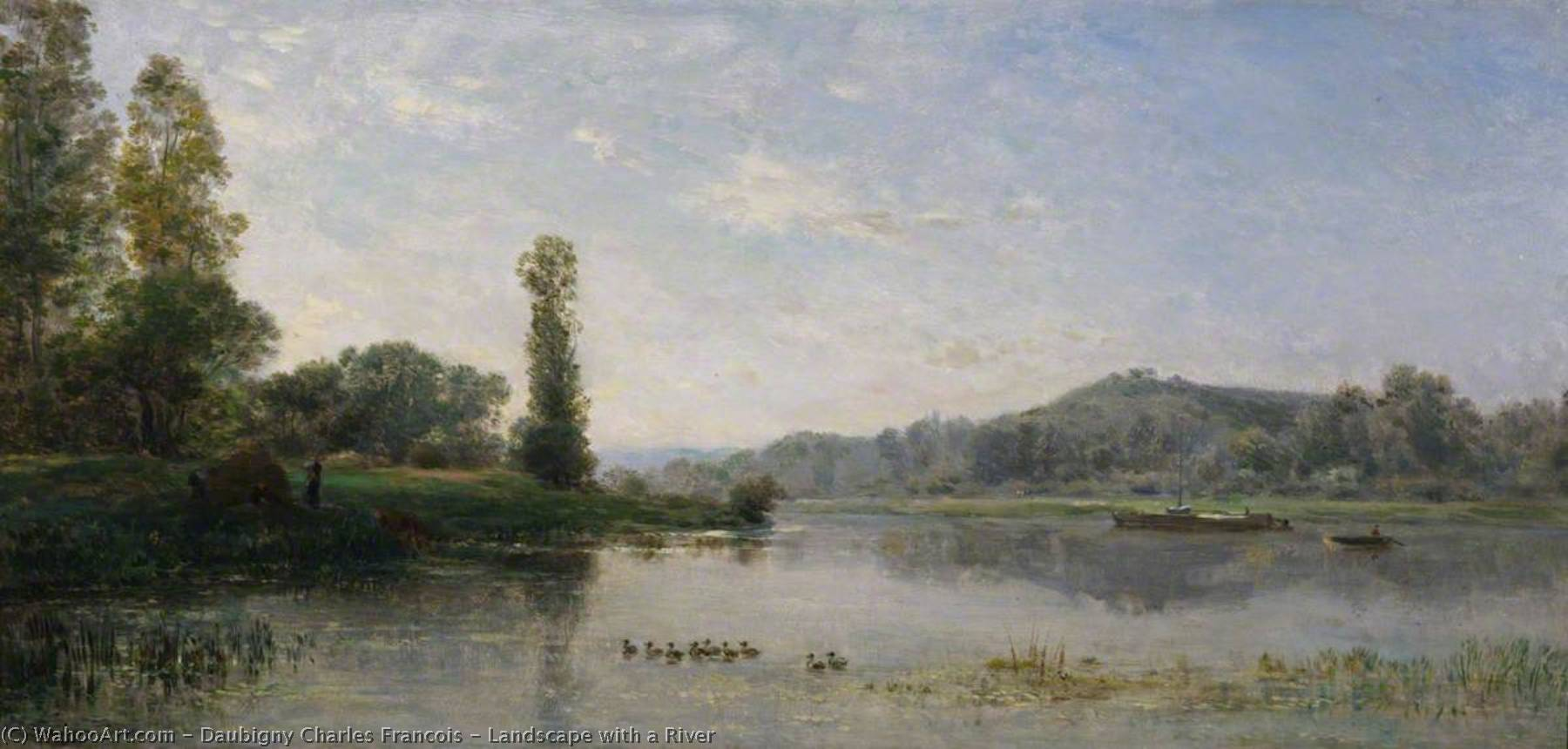 Landscape with a River, Oil On Panel by Charles François Daubigny (1817-1878, France)
