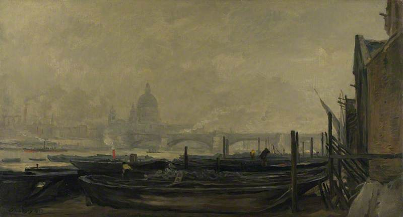 St Paul's from the Surrey Side, Oil On Canvas by Charles François Daubigny (1817-1878, France)