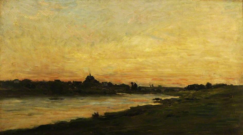 View of the River Oise at Sunset by Charles François Daubigny (1817-1878, France) | Famous Paintings Reproductions | WahooArt.com
