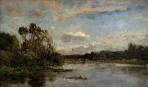 Charles François Daubigny - River Scene with Wooded Banks