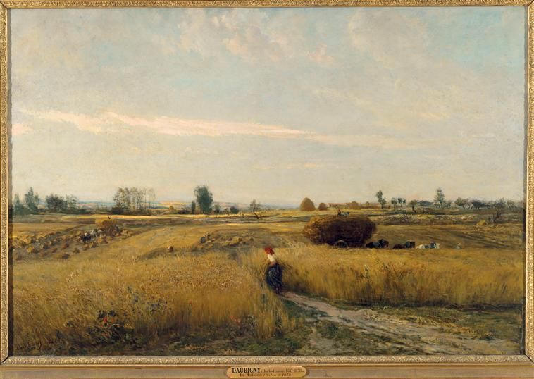 Moisson, Oil by Charles François Daubigny (1817-1878, France)