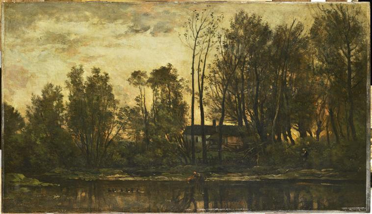 SOLEIL COUCHANT. BAS MEUDON, Oil by Charles François Daubigny (1817-1878, France)