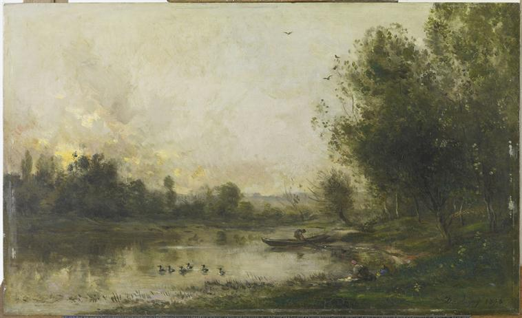 BORDS DE L'OISE. LE PECHEUR, Oil by Charles François Daubigny (1817-1878, France)