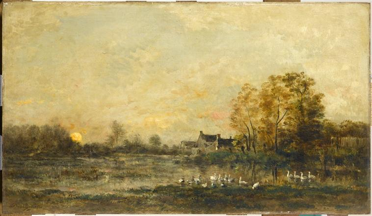 Le marais au soleil couchant, Oil by Charles François Daubigny (1817-1878, France)