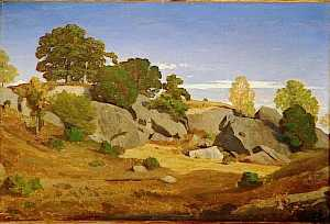 Order Museum Quality Reproductions : ROCHERS A FONTAINEBLEAU by Theodore Caruelle D'aligny (1798-1871) | WahooArt.com