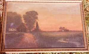 Charles A Hackett - (Sunset on Farmland), (painting)